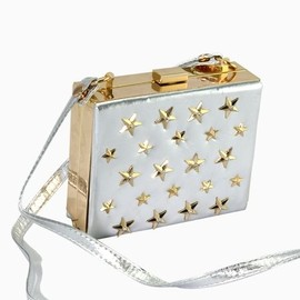 Choies - Silvery Squre Bag With Diamond Star