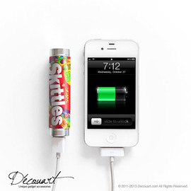 Decouart - Skittles portable external battery charger for iPhone & Samsung red colourful S030