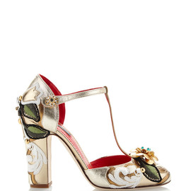 DOLCE&GABBANA - SS2015 Metallic Leather T-Strap Pump With Embroidery