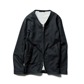 SOPHNET. - FAKE SHEEP BACK STRETCH TWILL CREW NECK ZIP UP BLOUSON