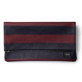 "HEAD PORTER - ""OXFORD"" CLUTCH BAG BURGUNDY"