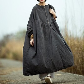 maxi dress - gray long dress, Women Oversized dress, long linen dress, Cotton maxi dress