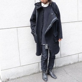 "KLASICA - Asymmetry Zip-Up HoodedCoat""PRAHA"""