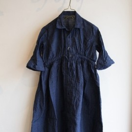 GARMENT REPRODUCTION OF WORKERS - FARMERS DRESS EMMA -INDIGO CHECK-