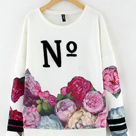 Letters Colorful Flowers Thick Lined Splicing Crewneck Sweatshirt Pullover