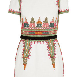 VALENTINO - SS2014 Embroidered cotton-canvas mini dress