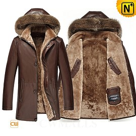 CWMALLS - Multifunctional Leather Coat | CWMALLS® Edmonton Men Shearling Leather Parka CW858180 [Custom Made]