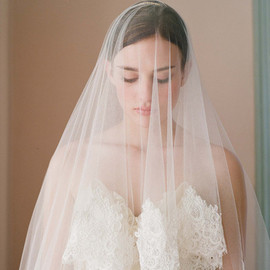 Silk tulle veil with chantilly lace and beaded appliques - Style # 224