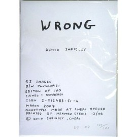 David Shrigley - Wrong 2007- a limited edition