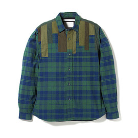 White Mountaineering - HEATHER CHECK NAP-RAISED Patchwork Shirt