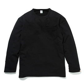 HEAD PORTER PLUS - POCKET L/S TEE BLACK