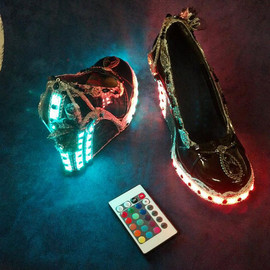 Vintage Steampunk Lace & Jeweled Heels with Remote Control LED