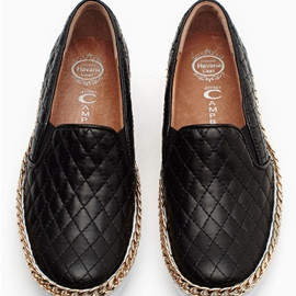 JEFFREY CAMPBELL - Jeffrey Campbell Black Gold Chain Alva Quilted Loafer