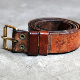 Deadstock Swedish Army Belt - Natural tan leather