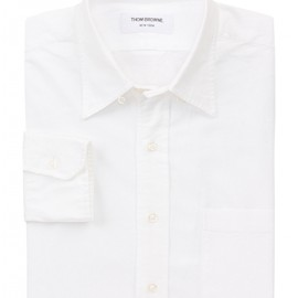 THOM BROWNE - White Cotton Oxford Cloth Long Sleeve Barrel Cuff Button Down Collar Made in U.S.A