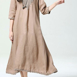 maxi dress - Red wine/ Khaki long linen dress/ Fashion maxi dress