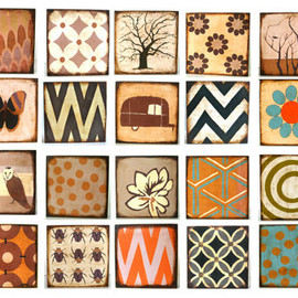 Luulla - Art Block Trio 5x5- Mix and Match - You CHOOSE any 3 designs Personalize Custom wood brown rust sepia geometric free shipping flower nature