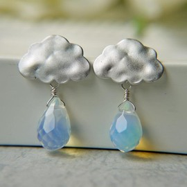Luulla - Matte White Gold Rain Cloud Earrings. Rainy Season. Opalite Briolette Rain Drops.