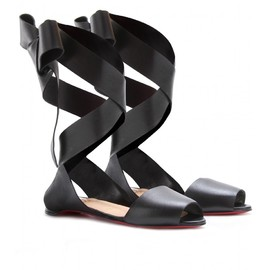 Christian Louboutin - MINIMA LEATHER RIBBON-TIE BALLERINAS