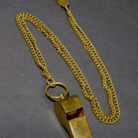 """""""Solid Brass"""" Police Whistle w/ Chain&Hanger"""