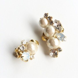 Y.A.Acc - 2way pearl earclip クリアカラー
