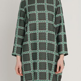 イーリーキシモト - AW1213 ROPEY HERITAGE POCKET MATTER DRESS - EVERGREEN