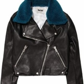 Acne - Acne Rita detachable contrast-collared leather jacket