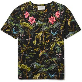 Gucci - Slim-Fit Appliquéd Tropical-Print Linen-Jersey T-Shirt