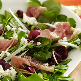 Oprah.com - Salad of Spicy Greens, Cherries, Prosciutto and Goat Cheese