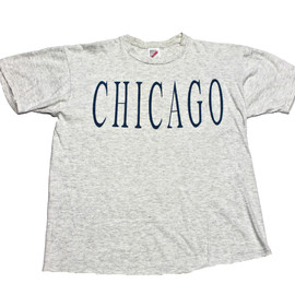 VINTAGE - Vintage 90s Heather Gray Chicago Shirt Made in USA Mens Size Large (Slim Fit)