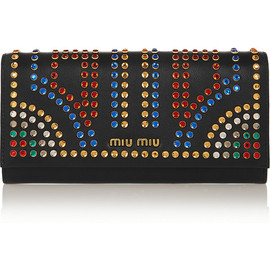 miu miu - Crystal-embellished leather continental wallet