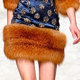 Blumarine - #Milan Fashion Week Blumarine Fall/Winter 2014 RTW fur trim dress