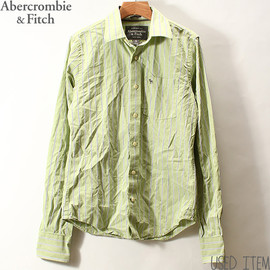 Abercrombie & Fitch - [メンズSサイズ][Abercrombie&Fitchアバクロンビー&フィッチ]ストライプシャツライムグリーン/長袖アメカジ[中古]