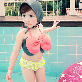 Child Swimwear Bikini Set Bowknot Top Panty and Swimming Cap