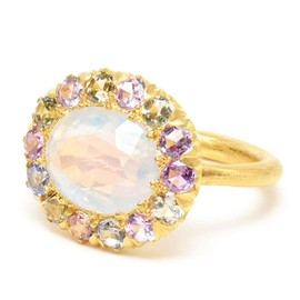 22-karat gold, spinel and amethyst flower ring