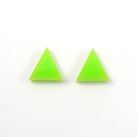 MistyAurora - Triangle Stud Earrings - Neon Green Earring Posts - Neon Jewelry - Lime Green - Geometric Jewelry - Free Shipping Etsy