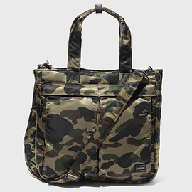 PORTER, A BATHING APE - A BATHING APE PORTER TANKER 2 Way Tote DARK GREEN CAMO