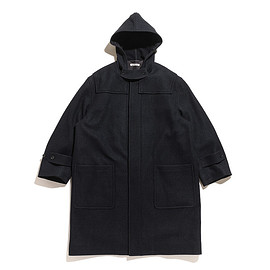 AURALEE - Wool Silk Melton Soutien Collar Coat-Black Navy
