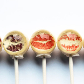 Vintage Confections - Ball style lipstick kiss edible images hard candy lollipop - 6 pc. - MADE TO ORDER