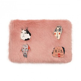 Shrimps - Florent faux fur Clutch Bag