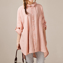 Pink shirt - Linen asymmetric large size long shirt