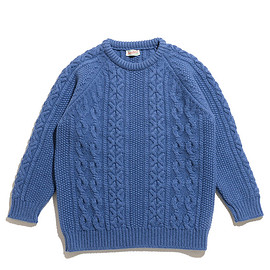 Scott&Charters - Crew Neck Aran Pattern-Soft Denim