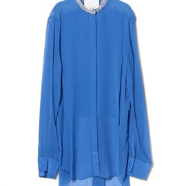 3.1 Phillip Lim - floating bib front shirt with beaded neck trim