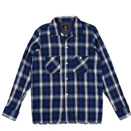 NEEDLES - Flannel Cut Off Bottom One Up Shirt-Ombre-Navy