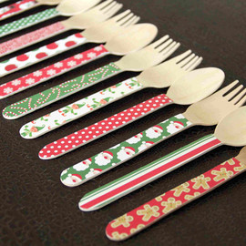 sugar coated studio - 24 Wooden Forks or Spoons - Christmas Desgins