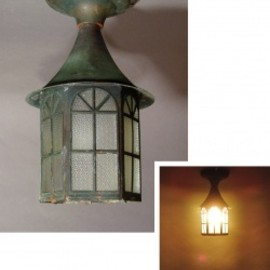 "1930-40's ""Shabby"" Copper Porch Lamp"