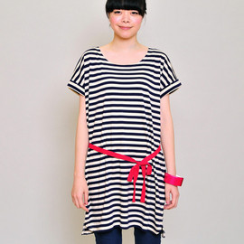 Design Tshirts Store graniph - Color Belt Border Short Sleeve One-Piece(Navy)