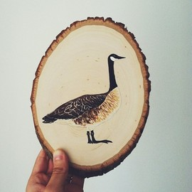 SMALL ADVENTURE - A Canadian goose wood slice painting.