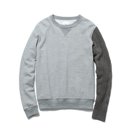 uniform experiment - SLEEVE CABLE KNIT CREW NECK SWEAT