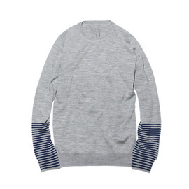 uniform experiment - BORDER SLEEVE CREW NECK KNIT / GRAY×NAVY